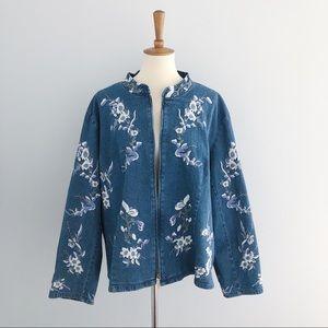 Denim & Co. Embroidered Denim Jacket Size XXL